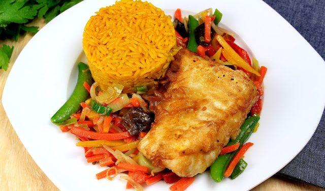polędwica z dorsza z ryżem po tajsku