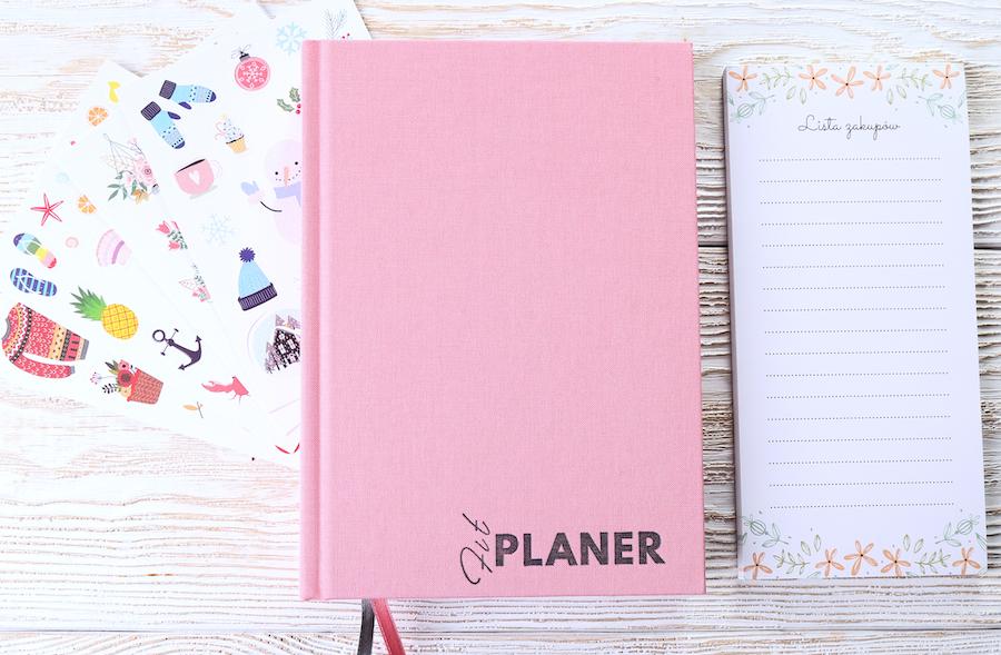 planer czasu różowy lista zakupów