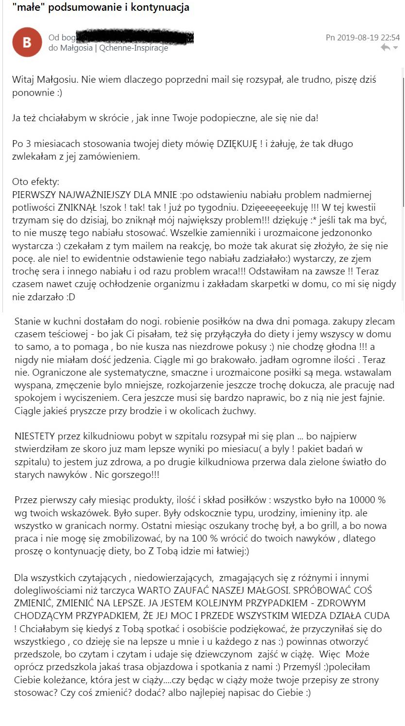 opinia o diecie dietetyku małgorzata lenartowicz qchenne inspiracje