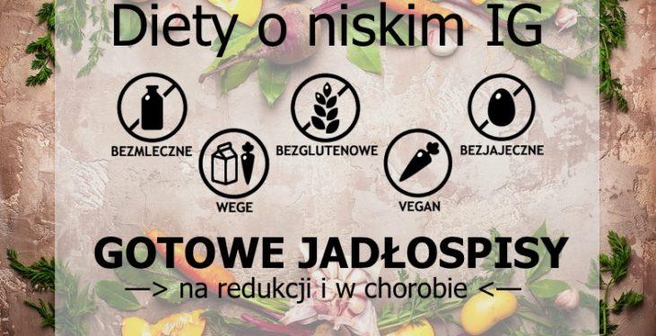 gotowe jadłospisy o niskim indeksie glikemicznym bezmleczne bezglutenowe bezjajeczne wegetariańskie wegańskie